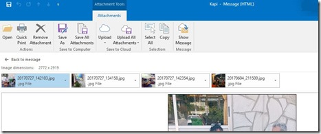 Attachments Tool Tab in Outlook 365