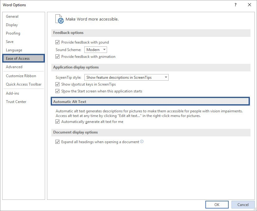 How To Activate or Deactivate The Alt Text Feature in Microsoft Word