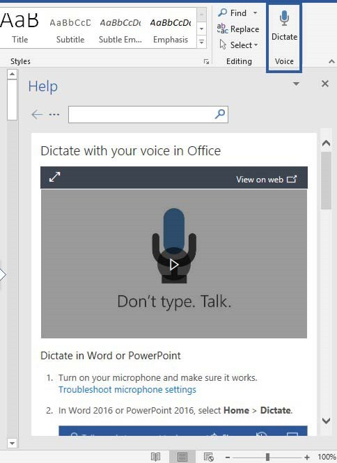 Dictate Text in Microsoft Office 365 Applications | officesmart