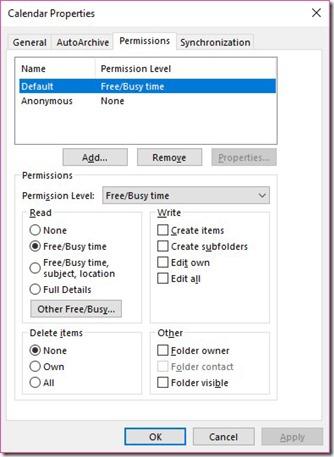Calendar Properties in Outlook