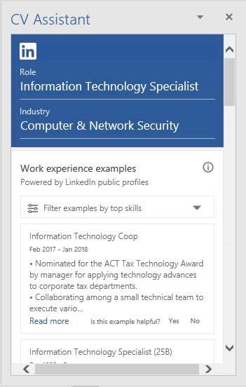 linkedin cv assistant in microsoft word 365