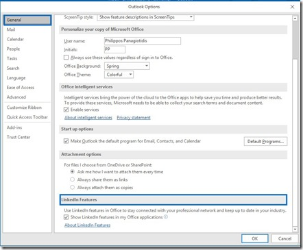 LinkedIn Features in Microsoft Outlook 365
