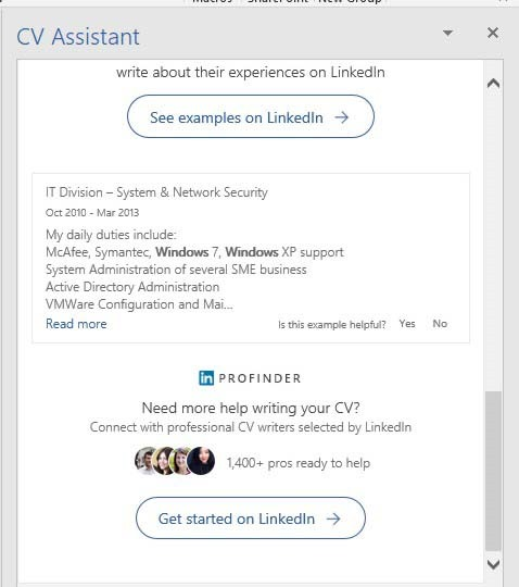 linkedin cv assistant in microsoft word 365