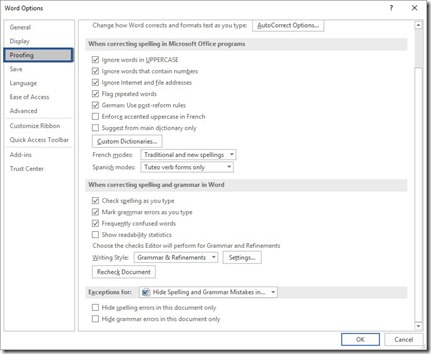 Word Options - Proofing Category