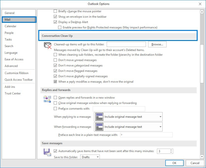 How To Use Conversation Clean Up Settings in Outlook 365