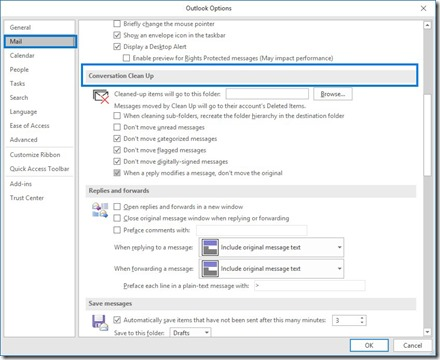 Outlook Options - General Category - Conversation Clean Up