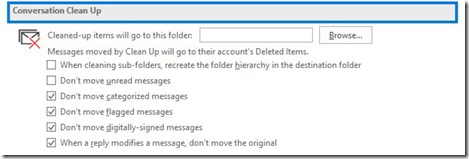 Conversation Clean Up in Outlook 365