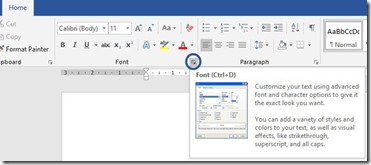 Font Area in Word
