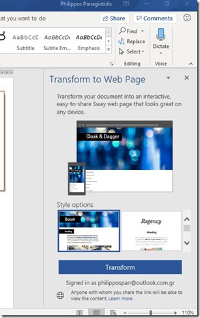Transfomr to WebPage in Word 365