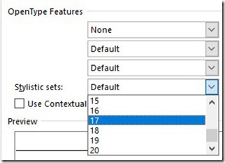 OpenType Featurs - Stylistics Sets
