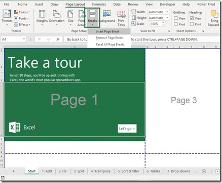 Page Setup - Insert Breaks