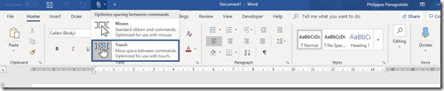 Microsoft Word Touch Mode