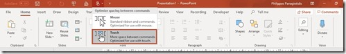 Microsoft PowerPoint Touch Mode