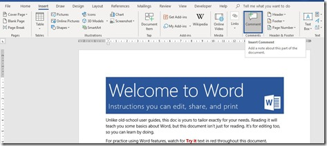 Comments Feature in Word
