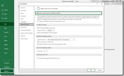 Excel Options -Ease of Access