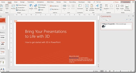 Comments Feature in PowerPoint
