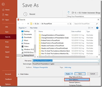 File - Save As - Save As Options