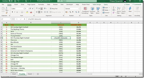 Use The VLOOKUP Function in a Microsoft Excel Spreadsheet